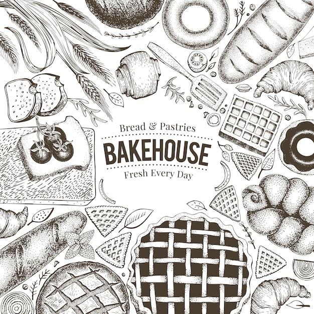 Bovenaanzicht van de bakkerij. hand getrokken vectorillustratie met brood en gebak. Premium Vector