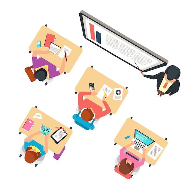 Bovenaanzicht van de klas. kinderen en leraar die in schoolklasse bestuderen met bord vectorillustratie Premium Vector