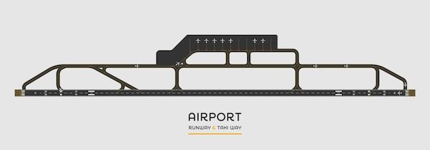 Bovenaanzicht van de landingsbaan van de luchthaven en taxibaan met vliegtuig Premium Vector
