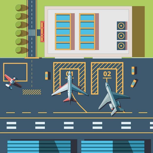 Bovenaanzicht van de luchthaven. terminalgebouw en de landingsbaanachtergrond van de burgerluchtvaarthaven Premium Vector