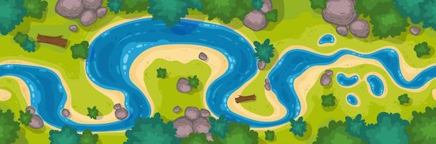 Bovenaanzicht van de rivier, cartoon curve rivierbedding met blauw water, kustlijn met rotsen, bomen en groen gras Gratis Vector