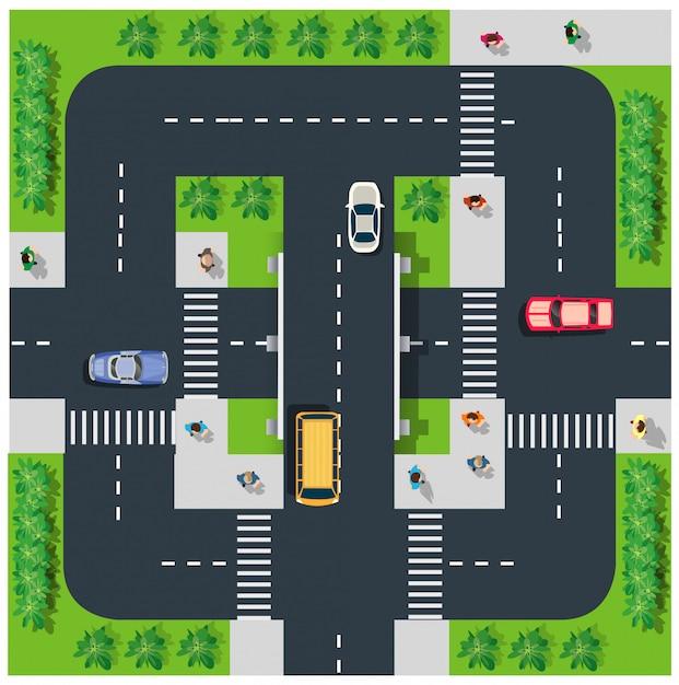 Bovenaanzicht van de weg Premium Vector
