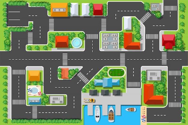 Bovenaanzicht van een snelweg in de stad met huizen Premium Vector