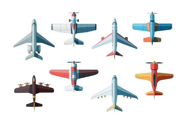 Bovenaanzicht van het vliegtuig. collectie van civiele en militaire vliegtuigen in stijlfoto's Premium Vector