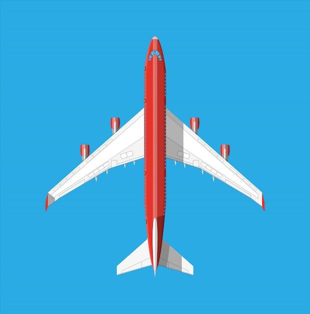Bovenaanzicht van het vliegtuig. Premium Vector