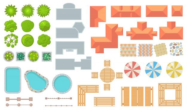 Bovenaanzicht van park en stad elementen platte pictogramserie Gratis Vector