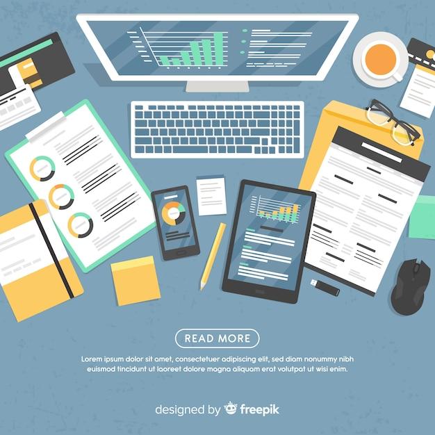 Bovenaanzicht van professionele kantoor bureau met platte ontwerp Gratis Vector