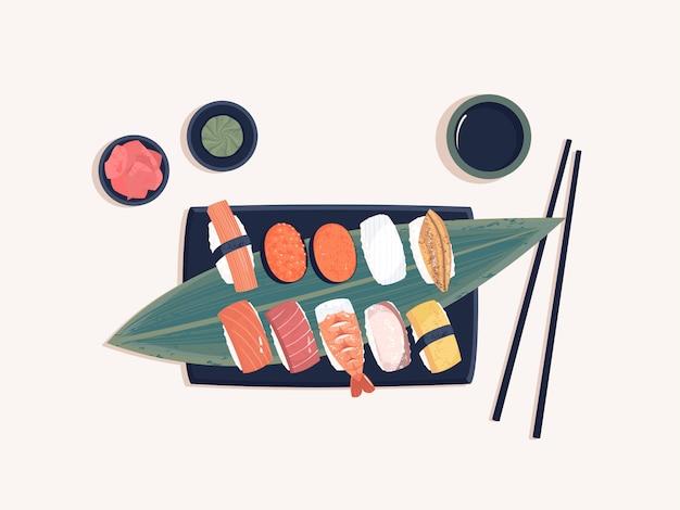 Bovenaanzicht van sashimi uit de japanse keuken Premium Vector