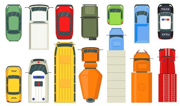 Bovenaanzicht van stadsvoertuigen Gratis Vector