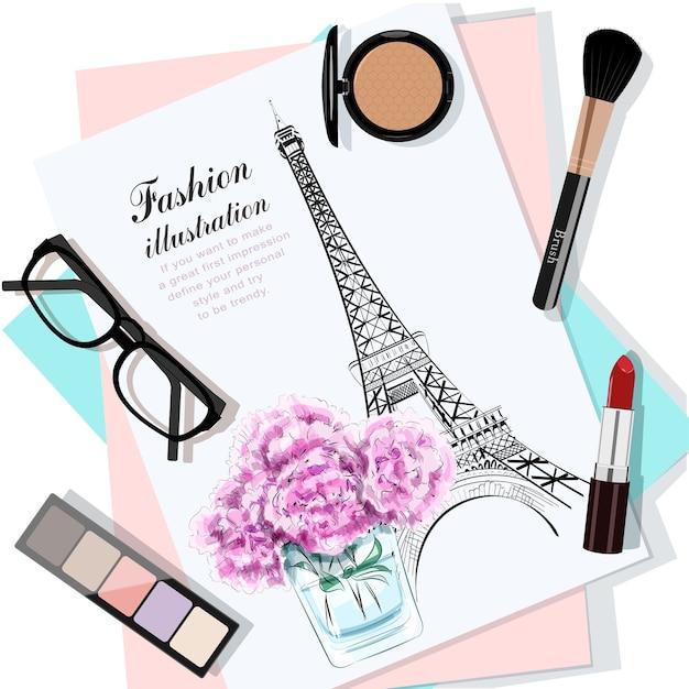 Bovenaanzicht van tafel met bloemen, papieren, schets, brillen en cosmetica. Premium Vector