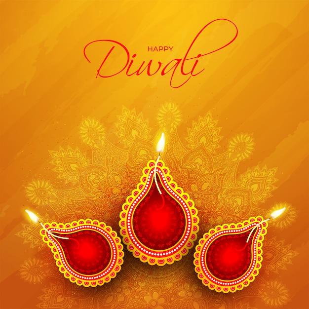 Bovenaanzicht van verlichte olielamp (diya) op oranje mandala patroon voor gelukkige diwali-viering Premium Vector