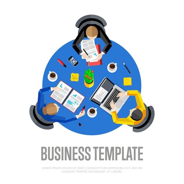 Bovenaanzicht werkruimte met zakelijke team illustratie Premium Vector