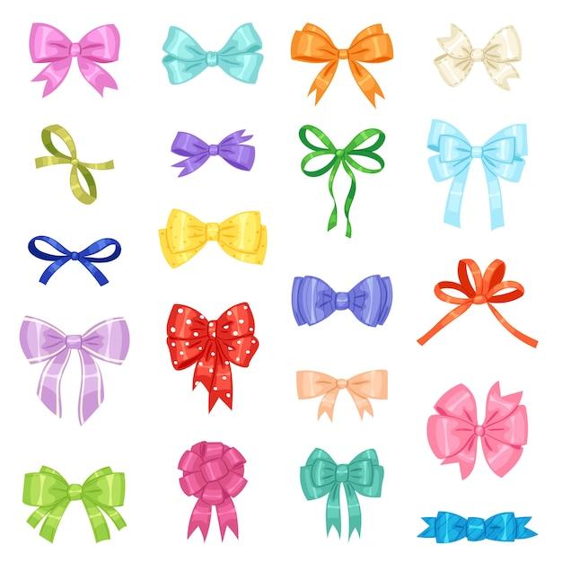 Bow vector bowknot of lint voor het versieren van geschenken illustratie set Premium Vector