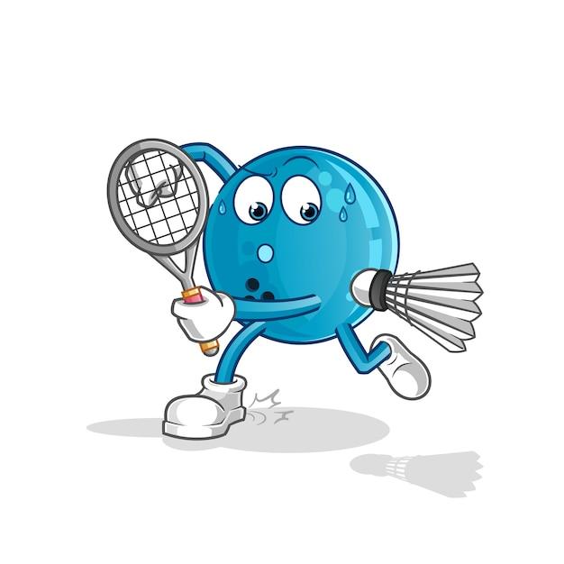 Bowling bal spelen badminton illustratie. karakter Premium Vector