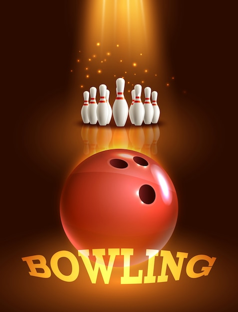 Bowling game poster Gratis Vector