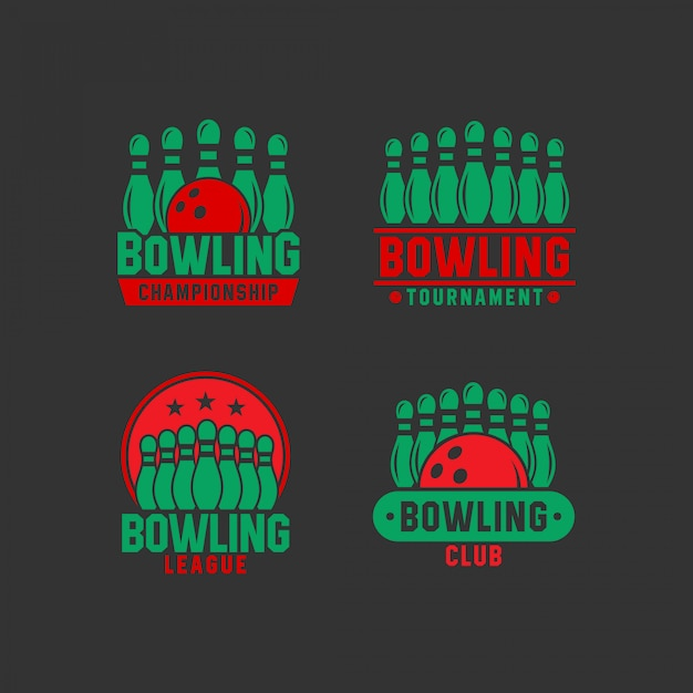 Bowling logo collecties Premium Vector