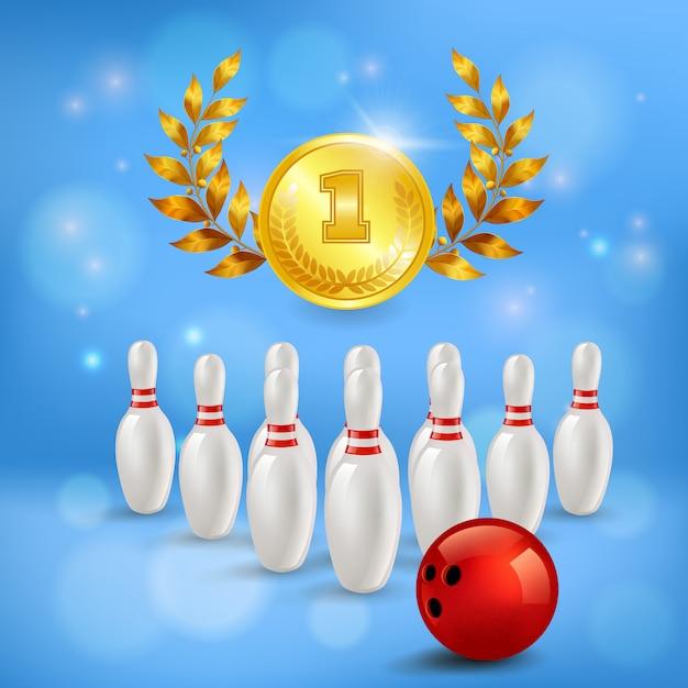 Bowling overwinning 3d compositie gouden medaille met lauweren pinnen en bal op wazig blauw Gratis Vector