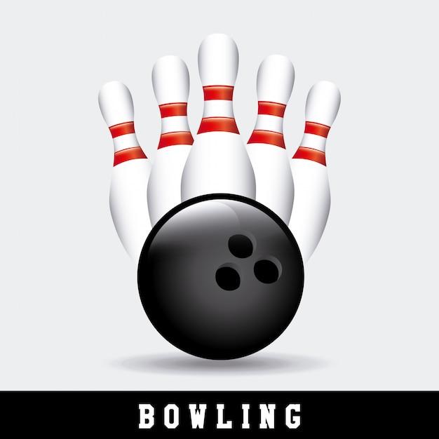 Bowling set met bal Gratis Vector