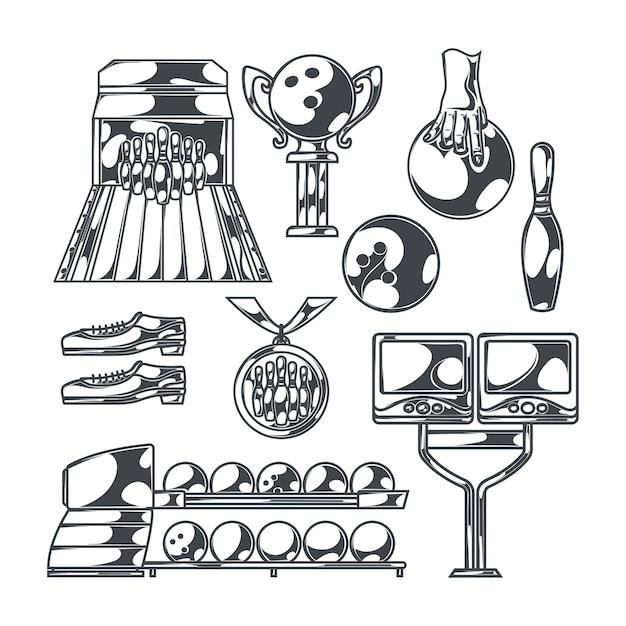 Bowling set met geïsoleerde zwart-wit afbeeldingen van baan met slagballen, schoenen pinnen en trofee cups Gratis Vector