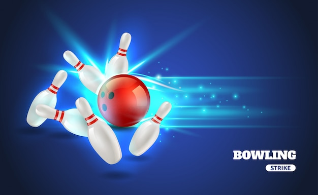Bowling strike illustratie Gratis Vector