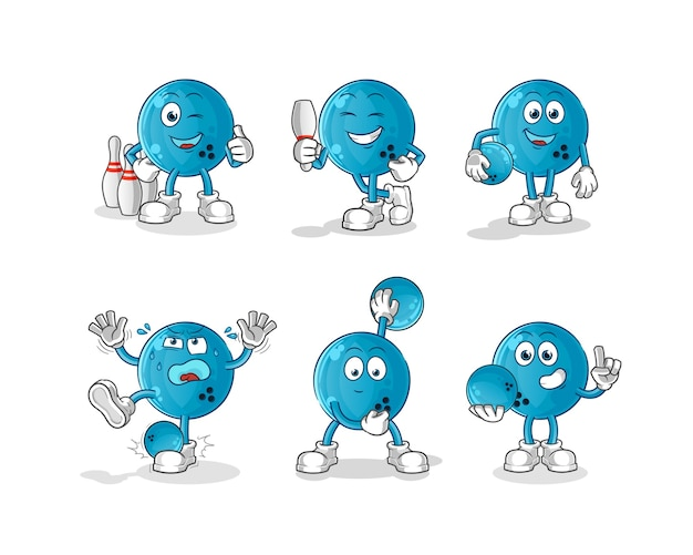 Bowlingbal karakter. cartoon mascotte Premium Vector