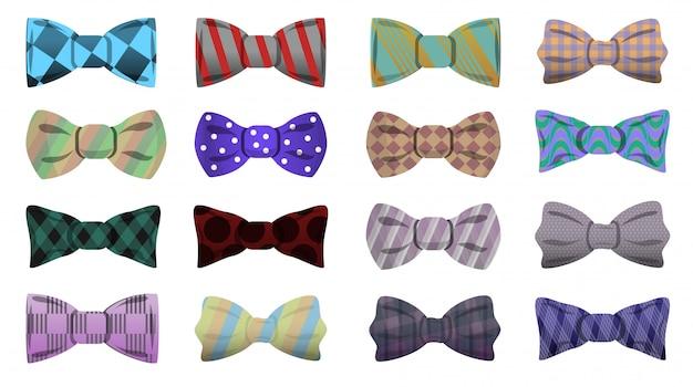 Bowtie pictogramserie. beeldverhaalreeks bowtie vectorpictogrammen voor webontwerp Premium Vector