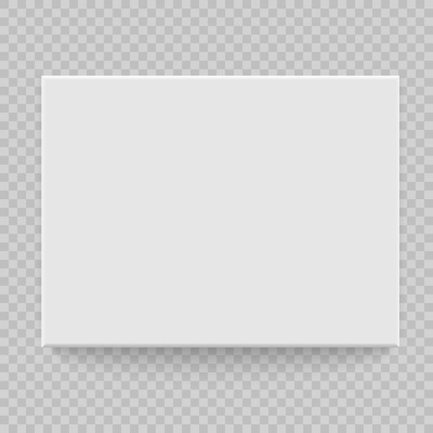 Box bovenaanzicht met schaduw. bespreek model 3d. realistische witte blanco Premium Vector