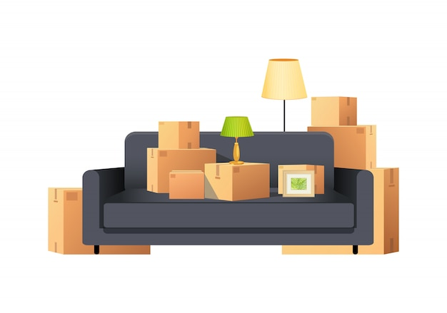 Box carton pakketten packs met sofa en lamp vector Premium Vector