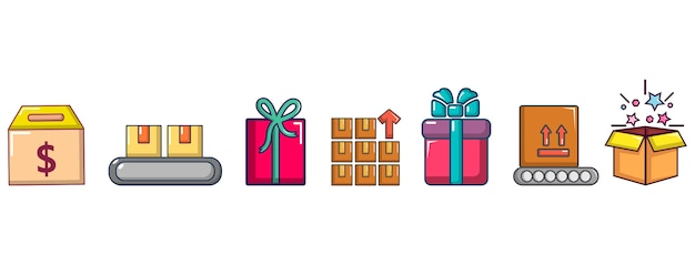 Box pictogramserie. beeldverhaalreeks doos vectorpictogrammen geplaatst geïsoleerd Premium Vector