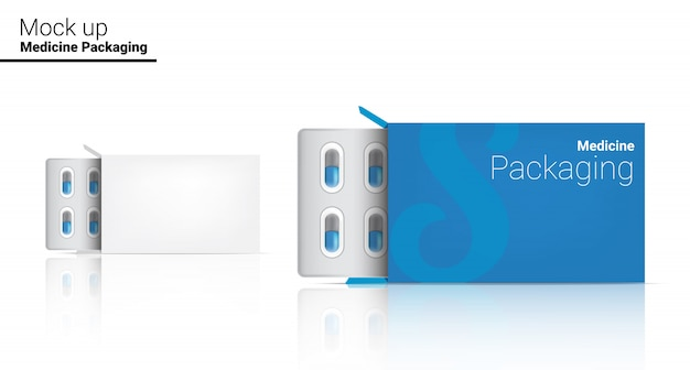 Box template realistische pil geneeskunde panel verpakking. tabletten medisch en gezondheidsconcept. Premium Vector