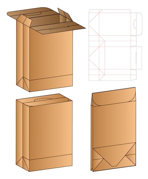 Box verpakking gestanst sjabloonontwerp. Premium Vector