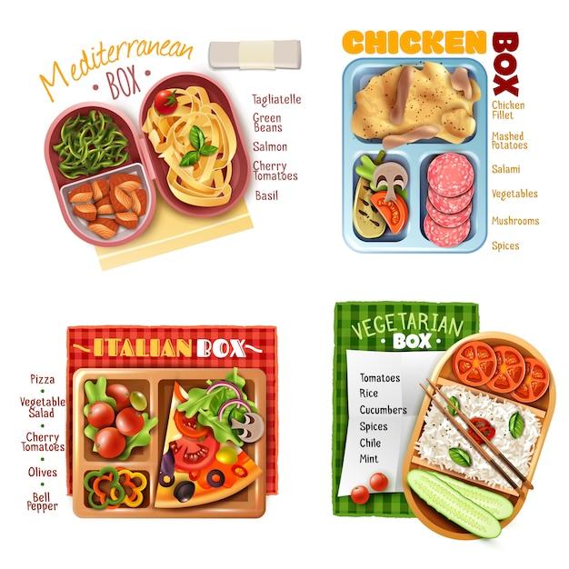 Boxed lunch ontwerpconcept Gratis Vector
