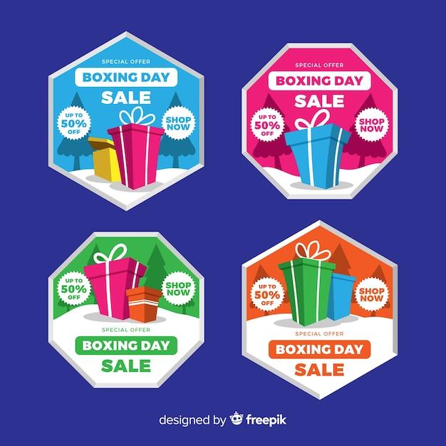 Boxing day koop badge collectie Gratis Vector
