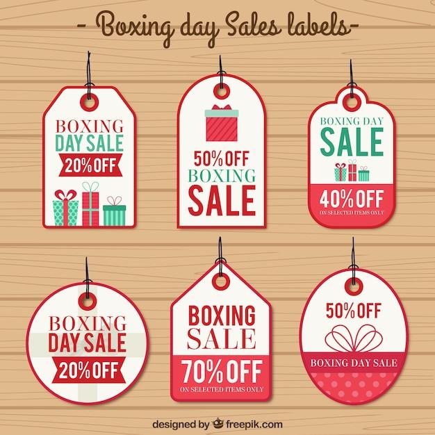 Boxing day verkoop etiketten Gratis Vector