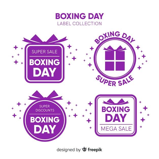 Boxing day verkoop label collectie Gratis Vector