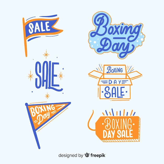 Boxing day verkoop labels-collectie Gratis Vector