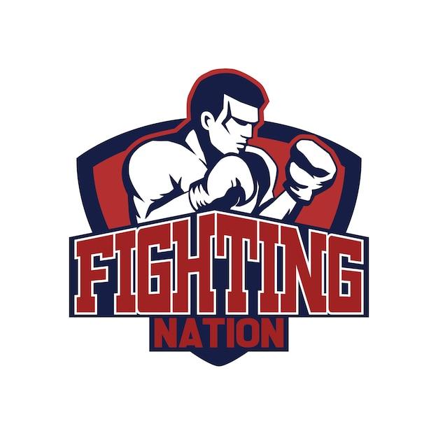 Boxing fingter logo-ontwerp Premium Vector