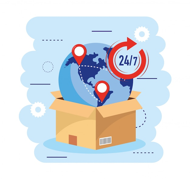 Boxpakket met wereldwijde kaart- en transportservice Premium Vector