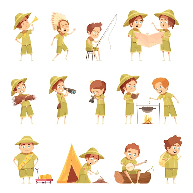 Boy scout retro cartoon icons set Gratis Vector