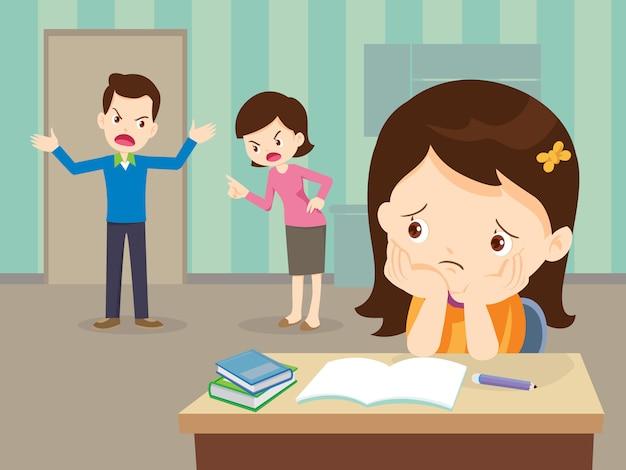 Boze familie ruzie met trieste dochter hebben huiswerk Premium Vector