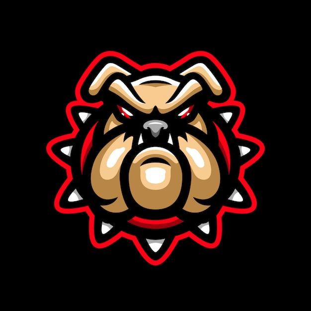 Boze hond mascotte logo Premium Vector