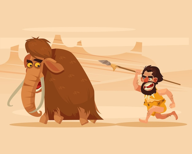 Boze hongerige primitieve holbewoner karakter achter lopende jacht mammoet cartoon afbeelding Premium Vector