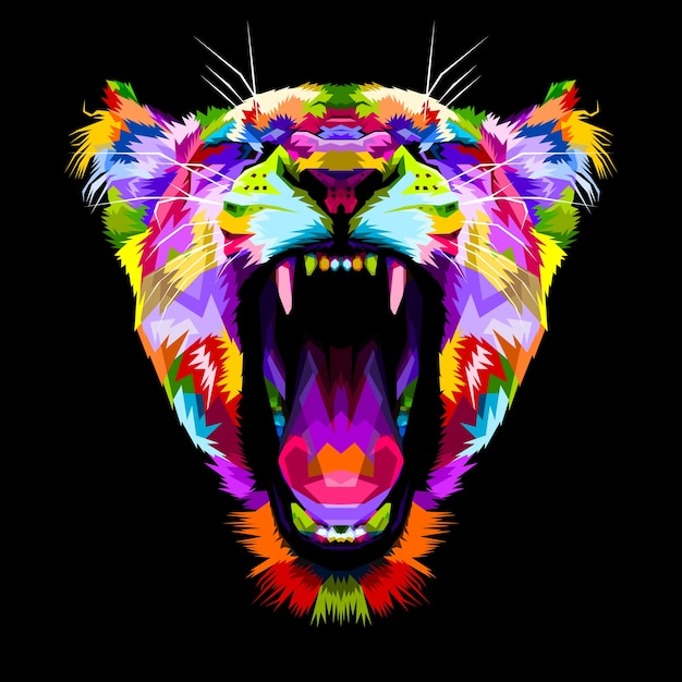 Boze kleurrijke leeuwen op pop-artstijl Premium Vector