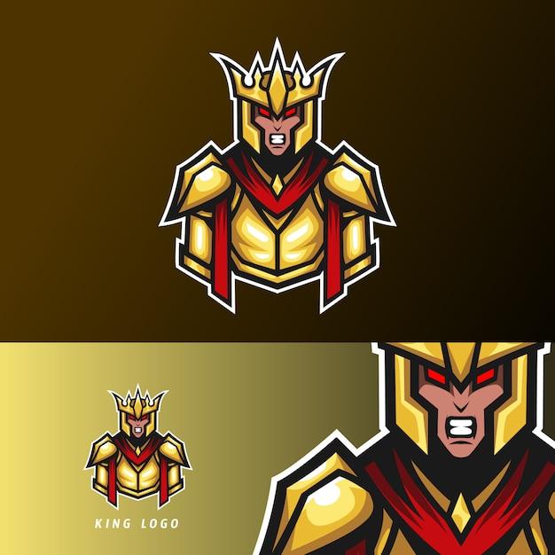 Boze koning sport esport logo sjabloon gouden oorlog uniform Premium Vector