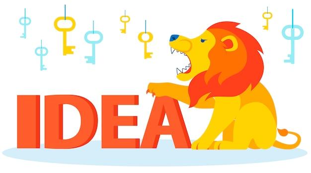 Boze leeuw bewaken, idee verdedigen Premium Vector