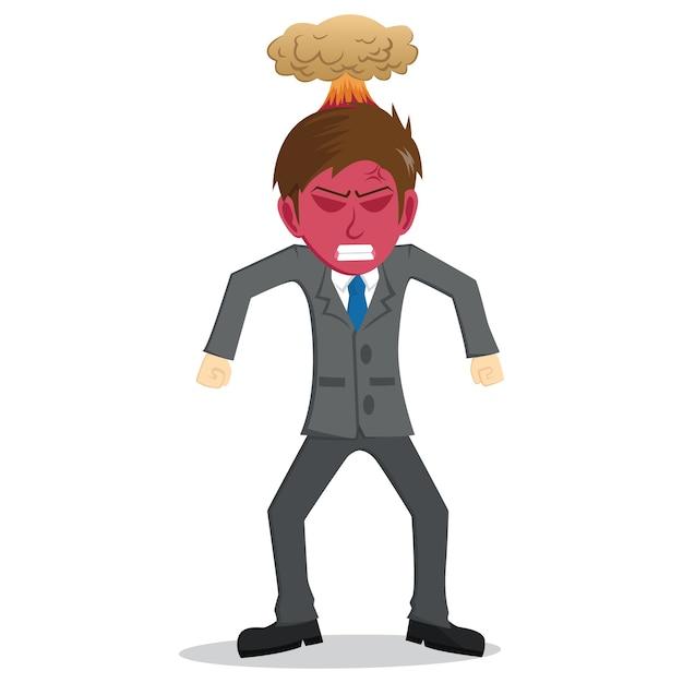 Boze zakenman met rood gezicht en explosie op het hoofd Premium Vector