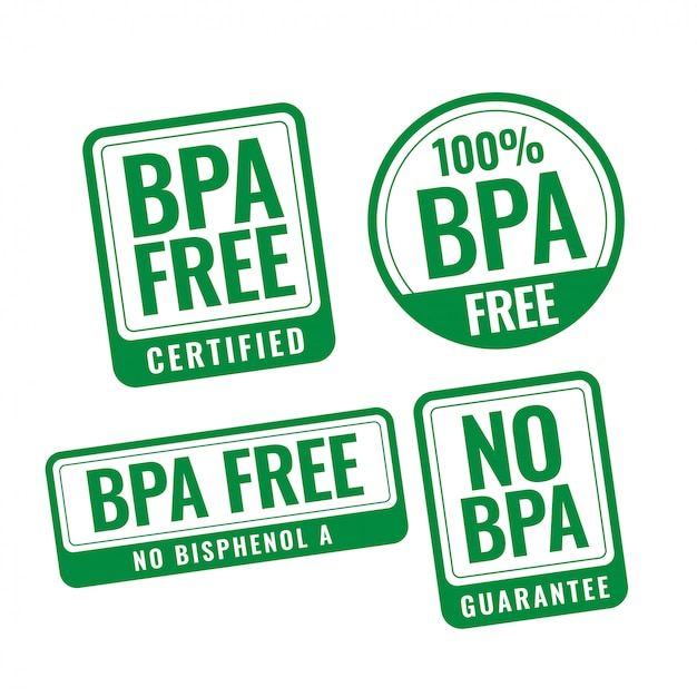 Bpa-vrij bisphenol-a en ftalaten badge stempeletiketten Gratis Vector
