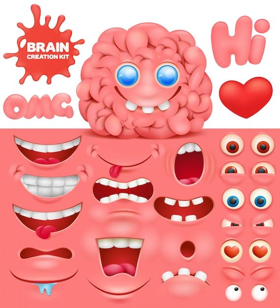 Brain cartoon character creation set. doe het zelf verzameling. Premium Vector