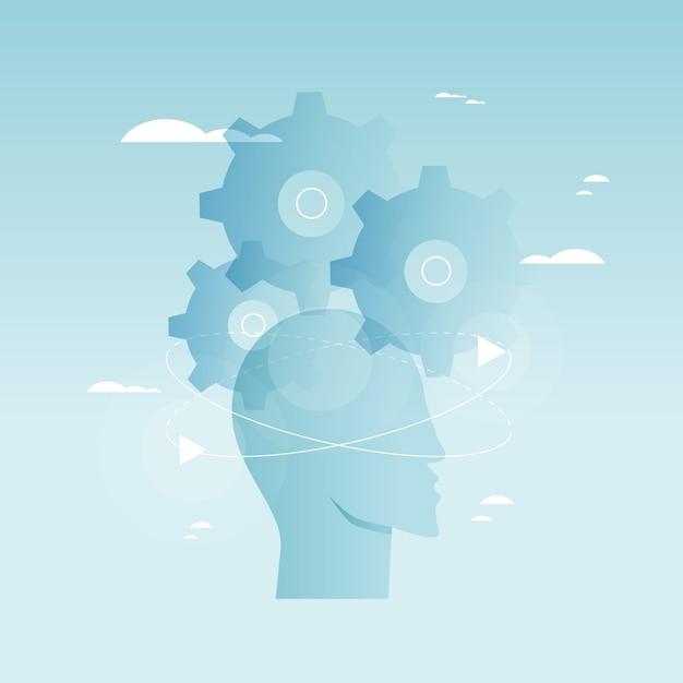 Brain functioneren, probleemoplossing, creativiteit, psychologische processen vector illustratie ontwerp Premium Vector