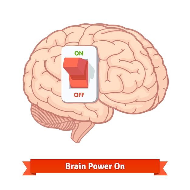 Brain power schakel aan. sterk gedachtenconcept Gratis Vector